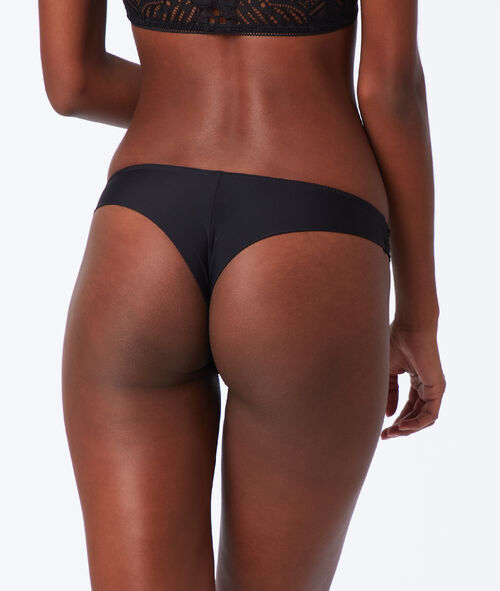 Microfibre and lace tanga briefs