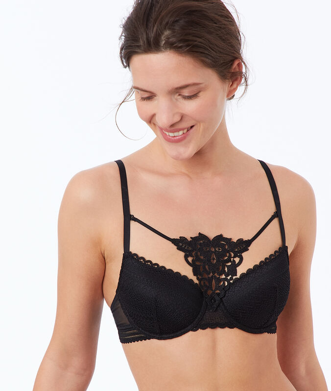 Bra no. 4 - lace classic padded bra, removable yoke black.