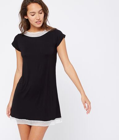Lace edged nightshirt black.