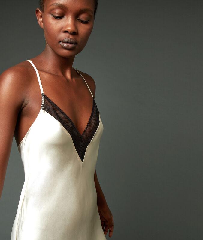 Cross back silk chemise ecru.