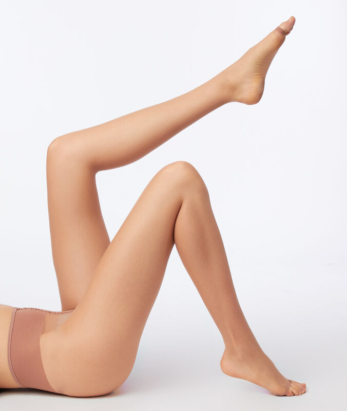 Collants voile effet jambes nues, bout ouvert dune.