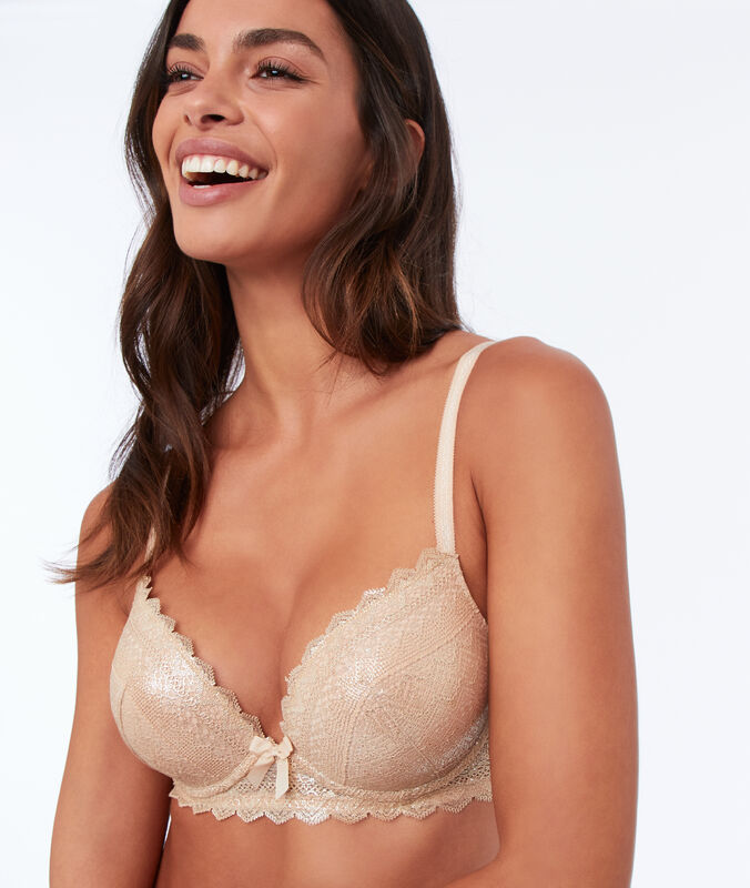 Bra n°1 - lace plunging push-up bra gold.