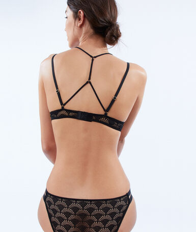 Bra no. 2 - lace plunging push-up bra with ties, structured back black.
