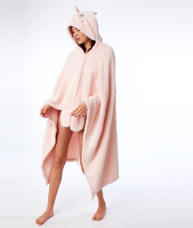 Unicorn poncho with hood pink.