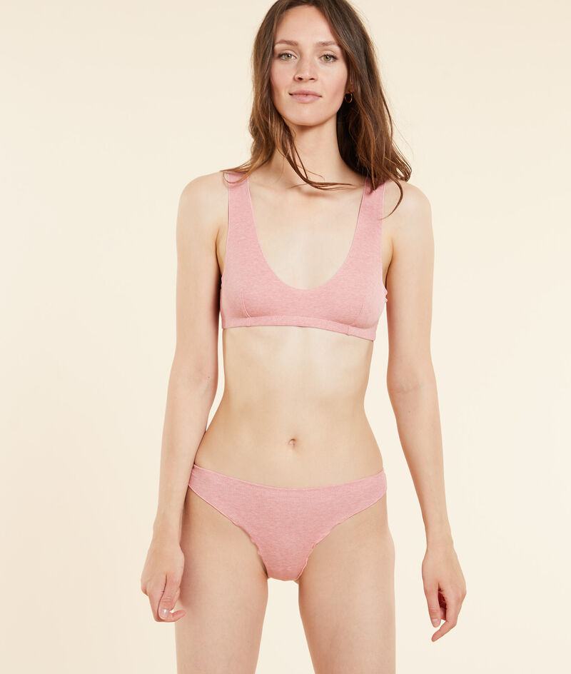 Ribbed cotton thong;${refinementColor}