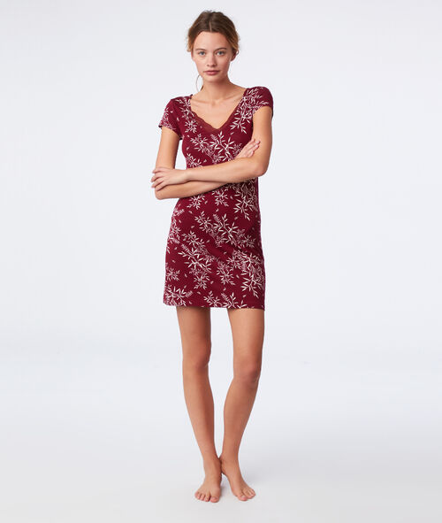 Lace neck floral nightdress