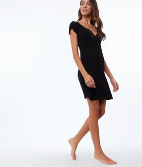 Lace neckline nightdress black.