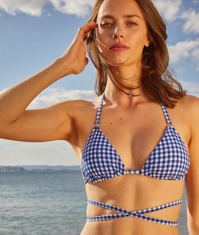 Wireless multiple-string triangle bikini top;${refinementColor}