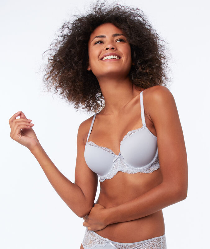 Bra with thin padding, lace and microfiber gray.