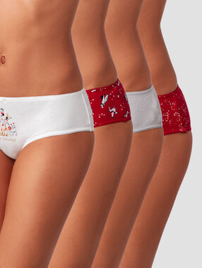 Lot de 4 shortys fantaisies rouge/blanc.
