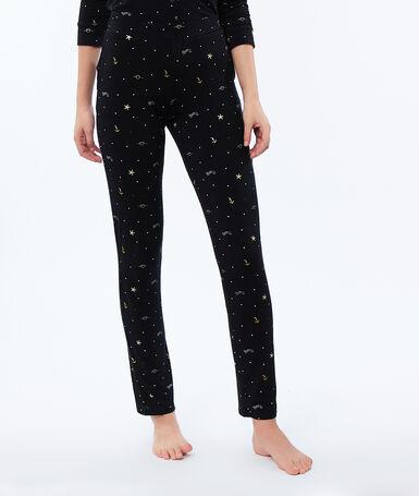 Printed trousers black.