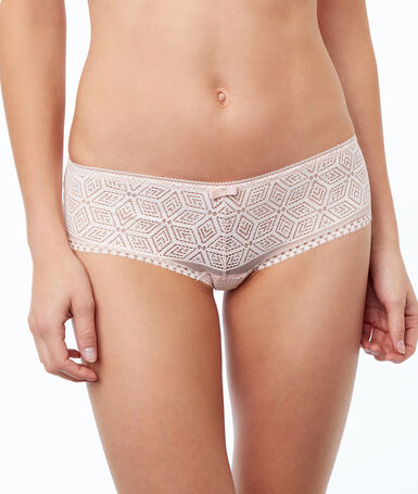 Ornate lace microshorts powder pink.