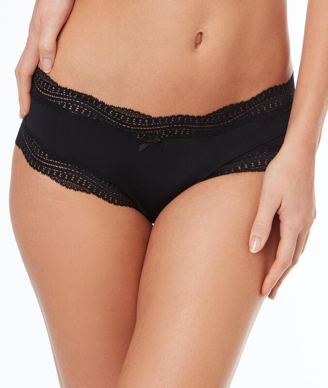 Ornate lace-edged shorts black.