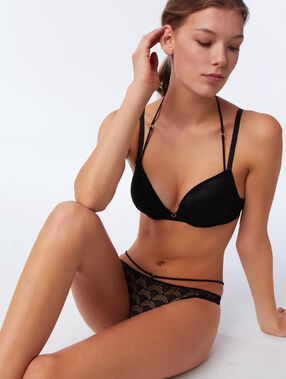 Lace tanga with straps black.
