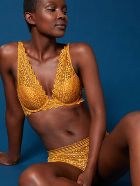 Bra no. 3 - lace triangle push-up bra gold button.