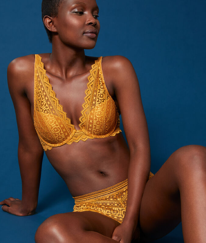 Bra no. 3 - lace triangle push-up bra gold button.