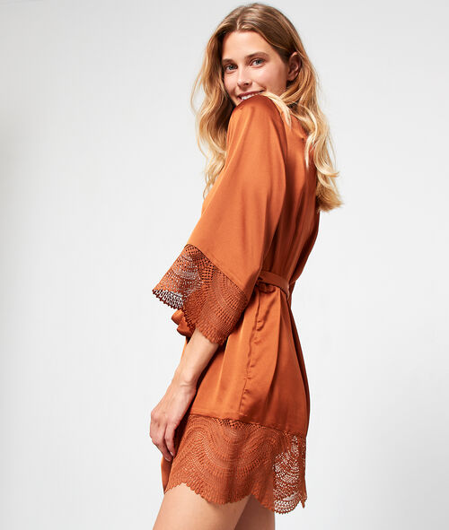 Satin Dressing Gown Lace Detailing