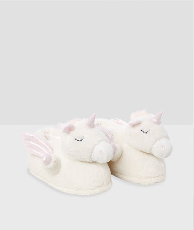 3d unicorn slippers ecru.