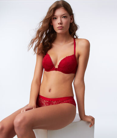Bra no. 5 - classic padded lace bra with racer back red.