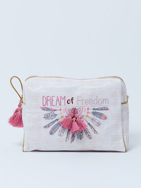 "Trousse double ""dream of freedom"" à pompons crudo."