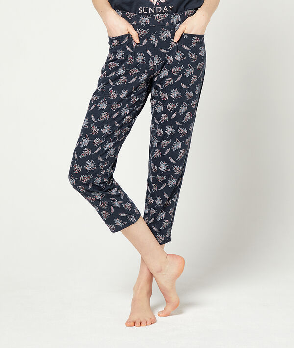 Crop trousers in a foliage print ;${refinementColor}