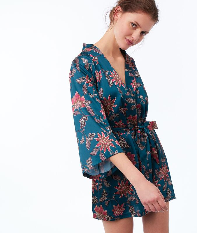 Printed kimono blue green.