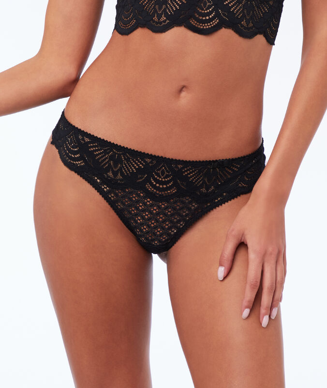 Star lace briefs black.