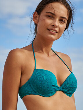 Push-up bikini top peacock blue.
