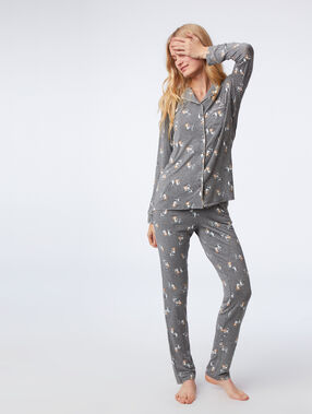 Cat print pyjama shirt anthracite.
