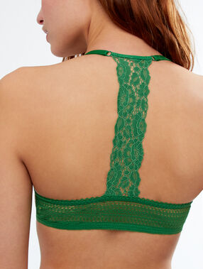 Bra no. 5 - lace padding, racer back nile green.