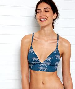 Triangle bikini top, small basque petroleum blue.