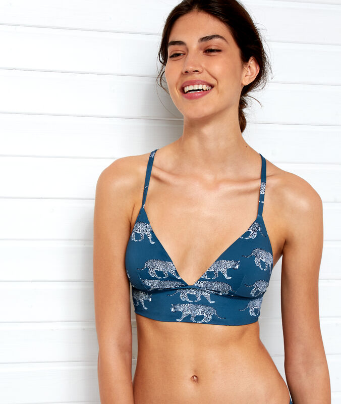 Triangle bikini top, small basque petroleum blue.