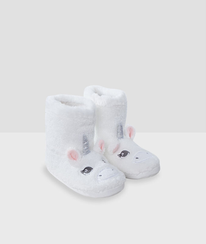 Chaussons bottines licorne ecru.