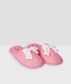 Striped polka dot bow slippers pink.
