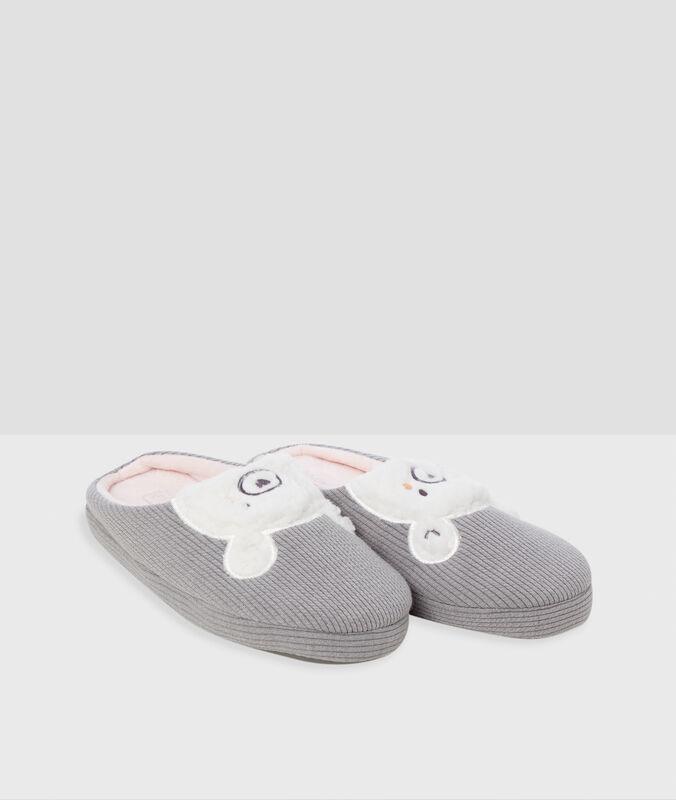 Pantofole orso grigio.