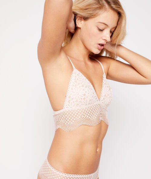 Lace triangle bra with basque