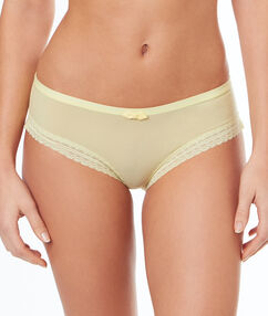 Shorty with lace edges light yellow.