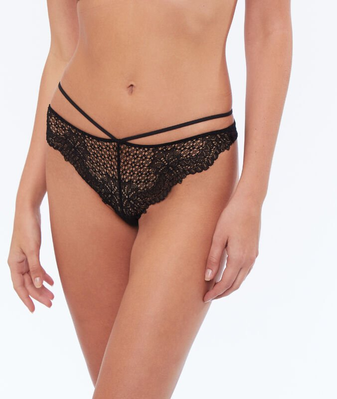 Tied lace tanga black.