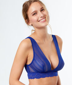 Non-wired triangle bra with lace underband royal blue.