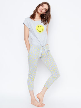 Printed smiley t-shirt gris.