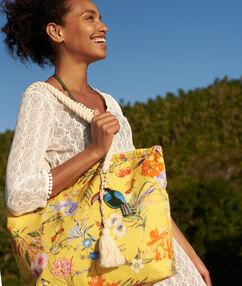 Beach bag, 100% cotton yellow.