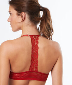 Push up lace bra, racer back red.