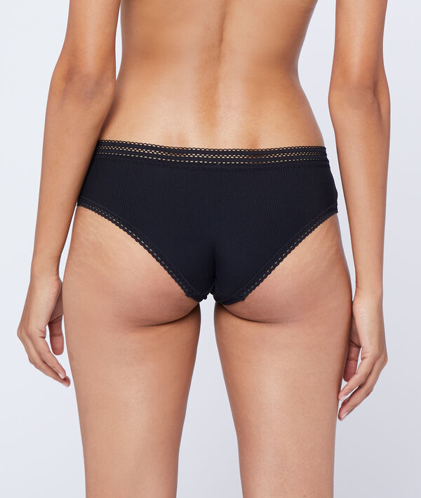 Microfibre shorty brief with lace trim