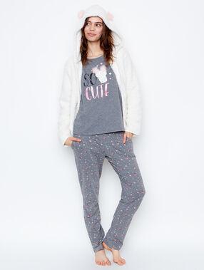 Monster print 3-pieces pyjama grey/off white.