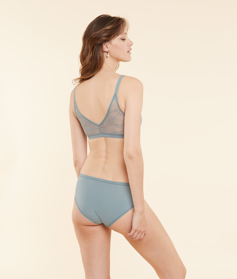 Lace and stretchy microfibre reversible bra;${refinementColor}