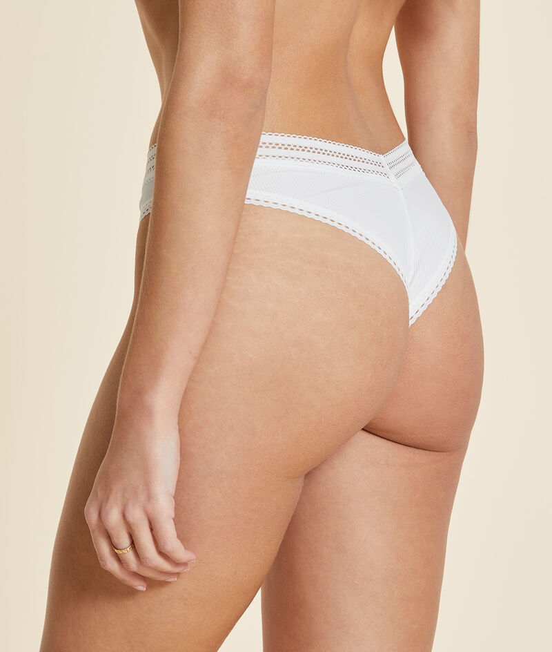 High-cut thong with lace details;${refinementColor}