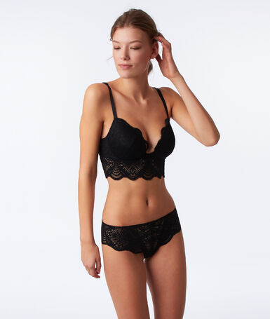Bra no. 5 - classic padded lace bra with floral basque black.