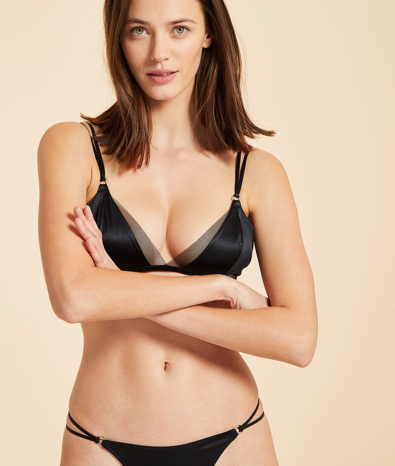 Non-wired silk triangle bra with tulle details;${refinementColor}