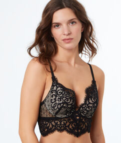 Lace push up bra, structured basque black.