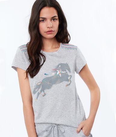 Horse print t-shirt gray.